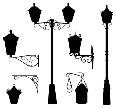 old street: silhouette of antique outdoor lamps