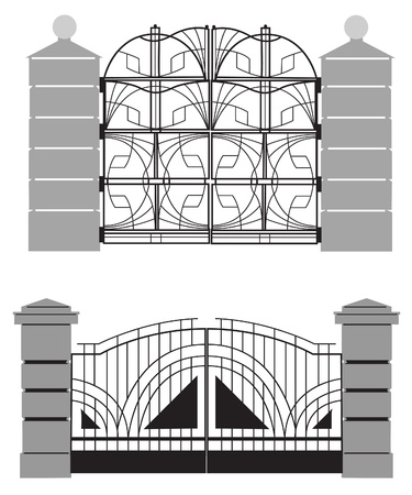 metal gate: silhouette of old street gates