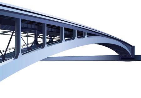 bridge: blue large metal bridge vector Illustration