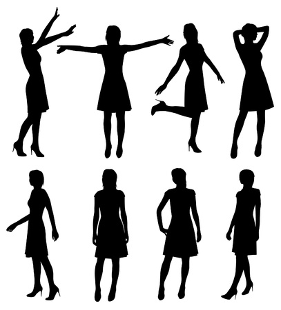 apart: girl in skirt and heels silhouette vector Illustration