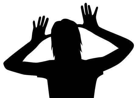 woman white shirt: girl is teasing silhouette vector Illustration