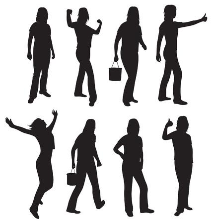 apart: active girl silhouette vector
