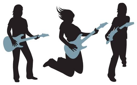 girl with guitar silhouette vector Vector