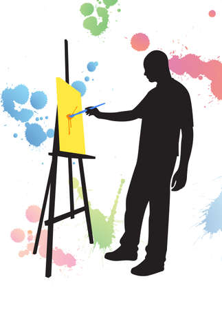 man painting on easel canvas, multicolored buds Vector