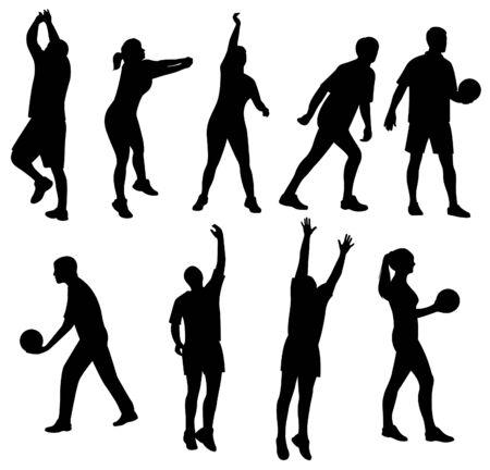 baloncesto chica: voleibol de la gente del deporte, silueta, vector de