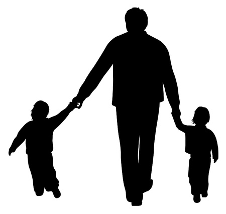 man with two children silhouette vector  Illustration