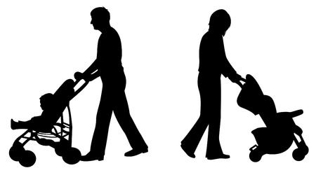 parents with baby in carriage silhouette vector  Vector
