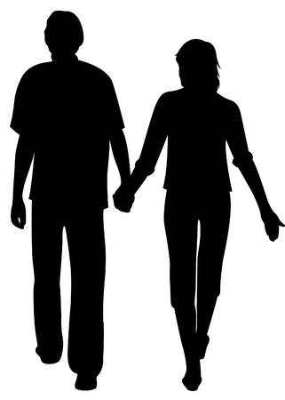 back to back couple:  man and girl holding for hands silhouette vector