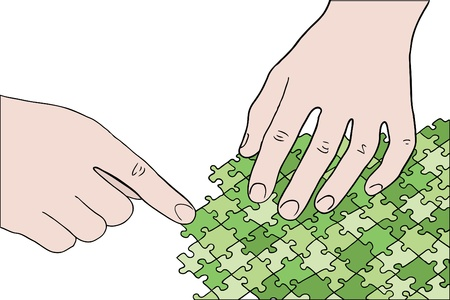 human hands assembling green puzzle vector Vector