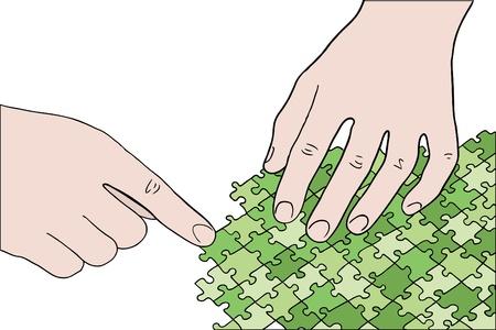 assembling: human hands assembling green puzzle vector Illustration