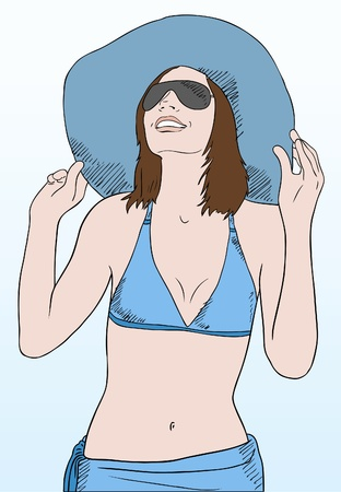 attractive woman: young woman in blue beach clothes and sunglasses smiling, vector Illustration