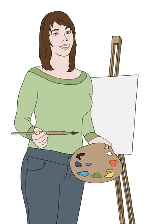 painter girl: young artist girl near easel, vector