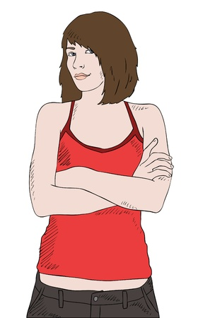 woman pose: young girl in red shirt with crossed hands, vector Illustration