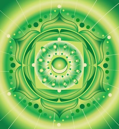 曼陀羅: 緑の抽象的なパターン、穴畑チャクラ ベクトルの曼荼羅