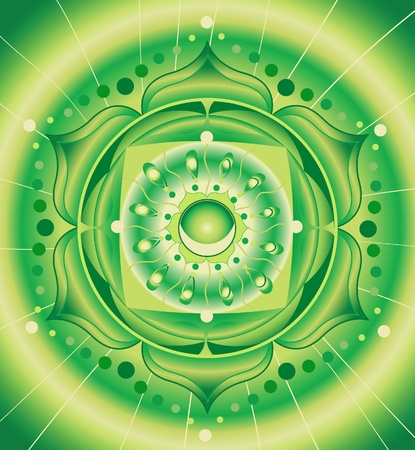 chakra: patron vert abstraite, mandala de vecteur de chakra anahata Illustration