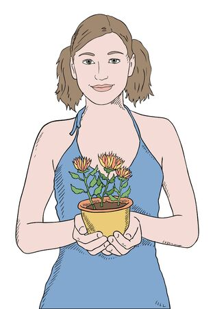 blue shirt: girl in blue shirt with potted plant vector