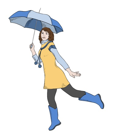 girl with umbrella jumping, vector Vector
