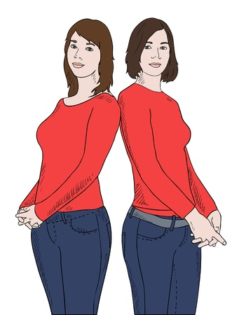 two girls in red shirts vector photo