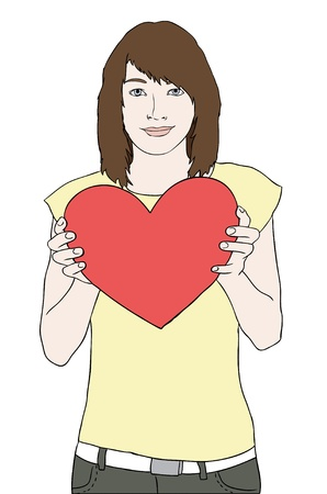 woman behind: young girl holding red heart and smiling vector Illustration