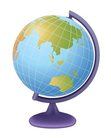 terrestre: mondo della scuola, vista su asia, vettore