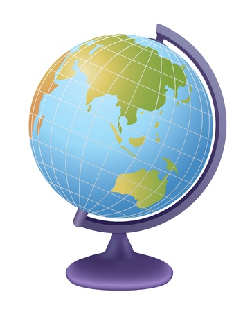 asia globe: school globe, view on asia, vector Illustration
