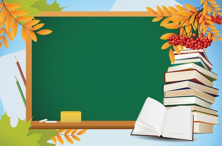 school autumn background with blackboard, books and yellow leaves, vector Illustration
