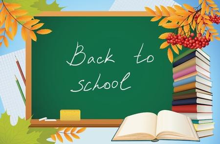 arrière-plan automne école avec blackboard, livres et feuilles jaunes, vecteur