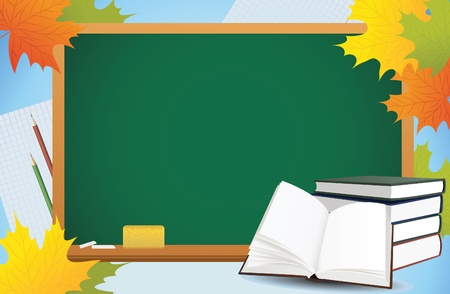first class: school autumn background with blackboard, books and yellow leaves, vector Illustration
