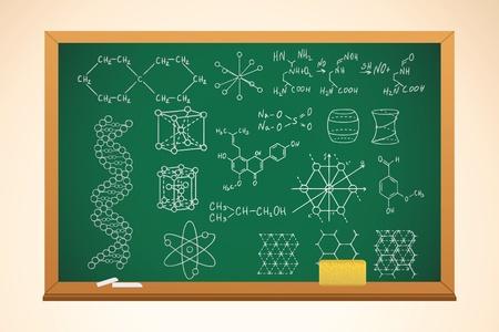 quimica verde: antecedentes de la escuela de qu�mica con pizarra y s�mbolos en �l, vector Vectores