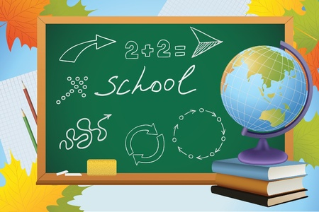 school autumn background with symbols on blackboard, globe and books, vector Vector