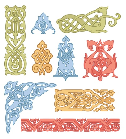 bird  celtic: Celtic color ornaments vector set