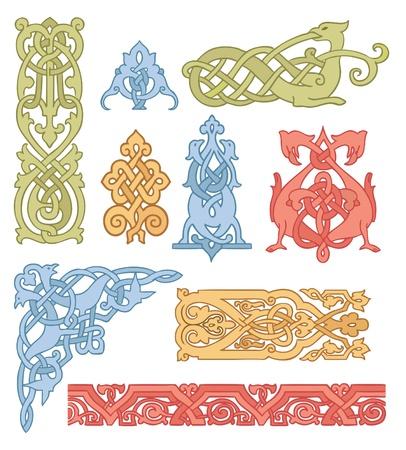 ornaments vector: Set di colori celtici ornamenti vettoriali