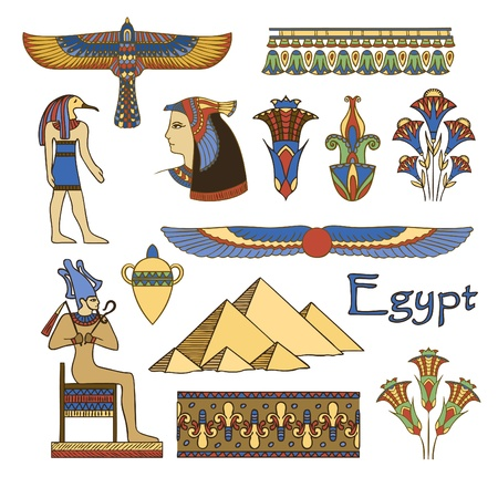 egyptian culture: egypt architecture and ornaments color vector set