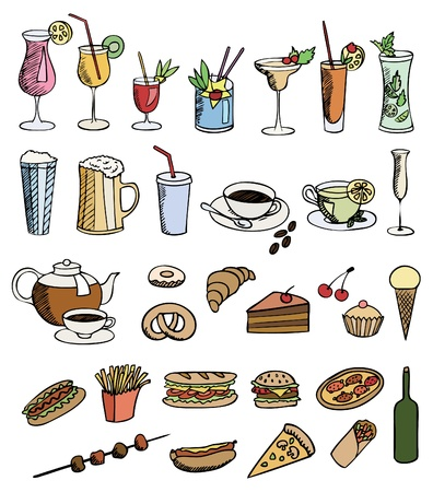 food and drink color vector set Vector