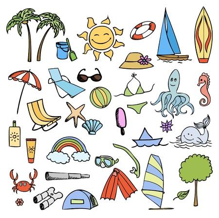 wind surf: vacaciones en mar color vector set