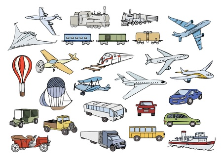 old items: transportation over the world color vector set