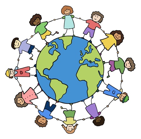 children of different races holding for hands around planet vector Vector