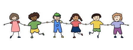 happy children holding for hands vector