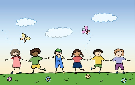 children drawing: happy children holding for hands on summer field vector