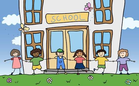 many doors: happy children holding for hands near school vector Illustration