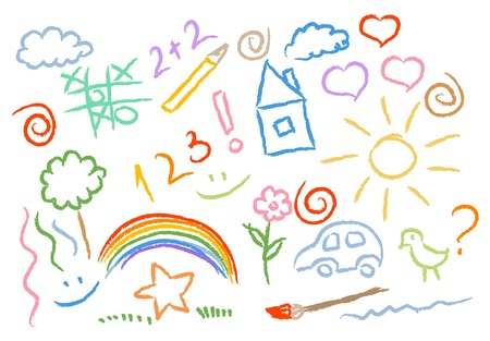 house sketch: children drawing multicolored symbols vector set Illustration