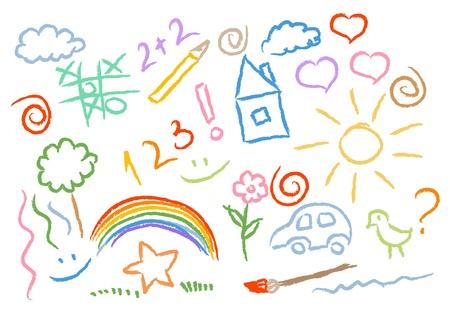 pajaro  dibujo: conjunto de vectores de niños dibujando símbolos multicolores