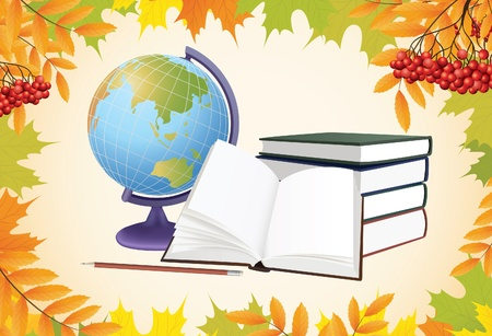 ashberry: autumn school background with globe, books and leaves vector Illustration