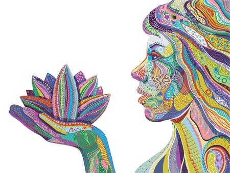 flor loto: mujer con flor de loto, vector de patrón ornamentada brillante Vectores