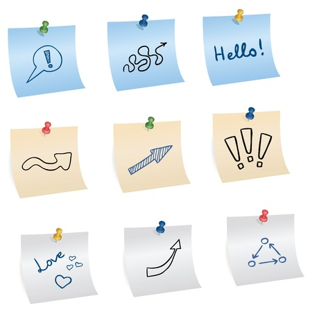 chit: stickers with pins and different symbols, vector