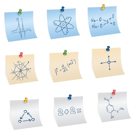chit: stickers with pins and different science and education symbols, vector Illustration