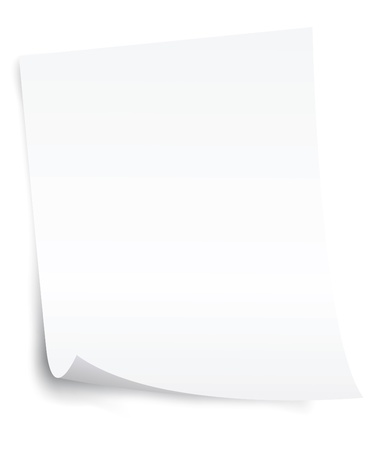 paper curl: white blank paper sheet with curl corner vector