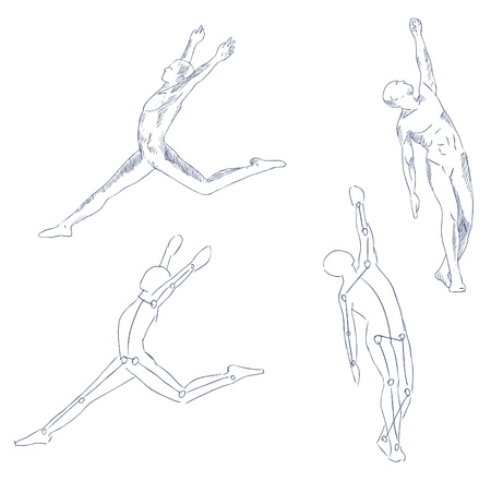 naked male: human in motion artistic sketch with shading vector