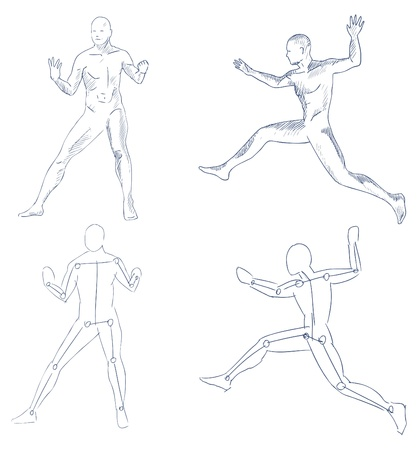 nude male: human in motion artistic sketch with shading vector