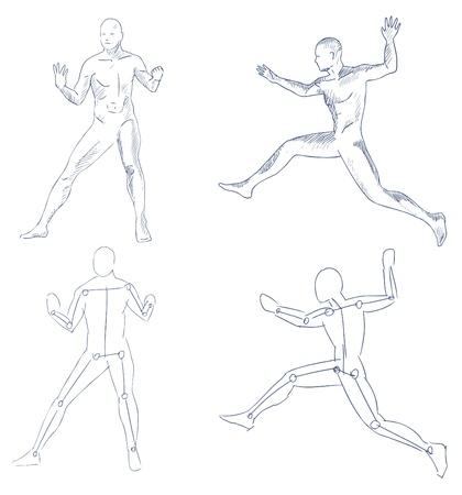 menselijke in beweging artistieke schets met arcering vector